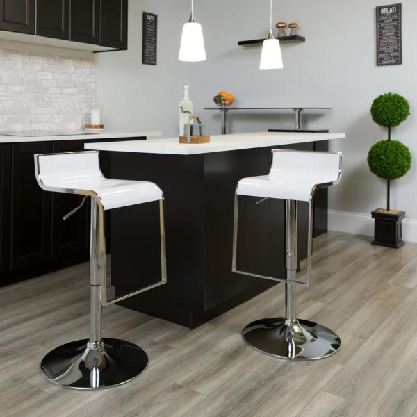 Flash Furniture Adjustable Height White Bar Stool CHTC31027PWH