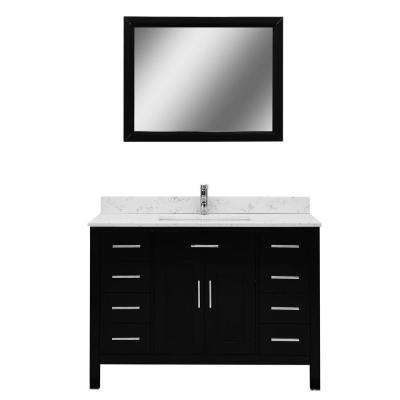 Accent Series 48 in. Vanity in Espresso with Marble Vanity Top in Italian Carrara White and Mirror