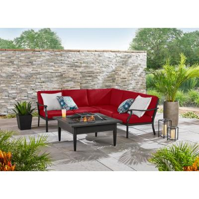Riley 3-Piece Black Steel Outdoor Patio Sectional Sofa with CushionGuard Chili Red Cushions