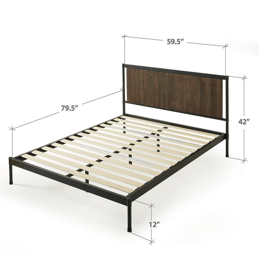 Zinus Wesley Brown Queen Metal And Wood Platform Bed Fbownm 12q