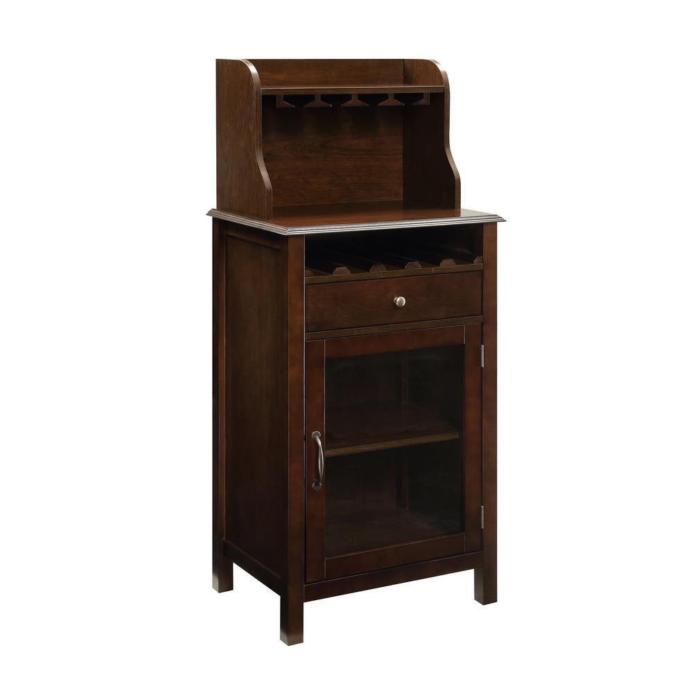 Hudson 5-Bottle Dark Walnut Small Bar Cabinet