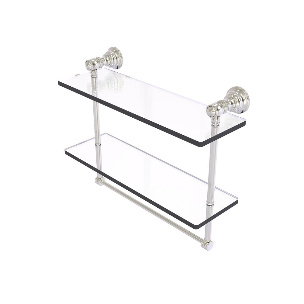 Allied Brass Carolina Collection 16 In Double Glass Shelf With Towel Bar In Satin Nickel Cl 2 16tb Sn The Home Depot