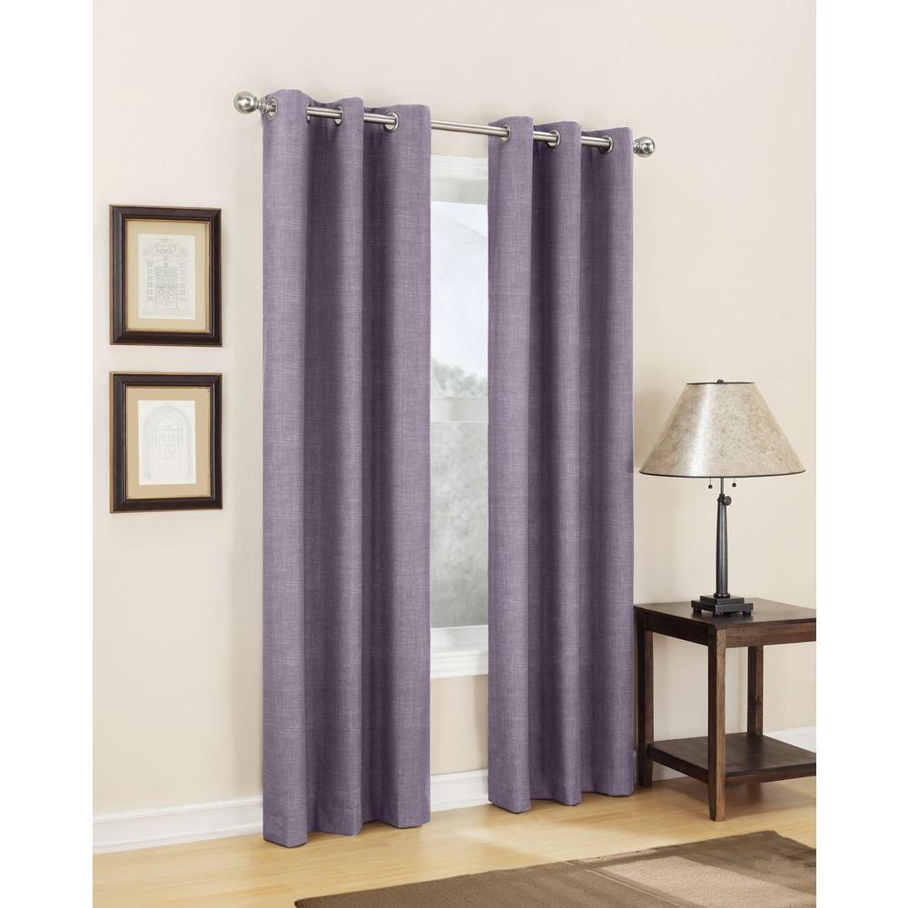 Sun Zero Semi-Opaque Plum Tom Thermal Lined Curtain Panel, 40 in. W x 84 in. L