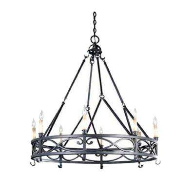 8-Light Textured Rust Medium Chandelier