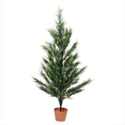 4.5 ft. Potted 2-Tone Artificial Cypress Tree