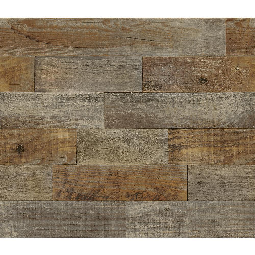 Brown Farm Wood Wall Applique Peel and Stick Backsplash