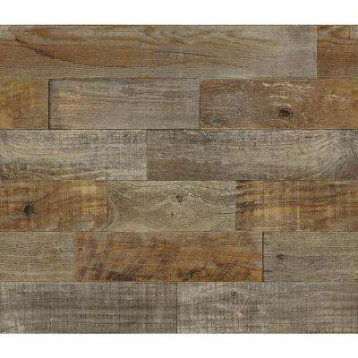 Brown Farm Wood Wall Applique Peel and Stick Backsplash