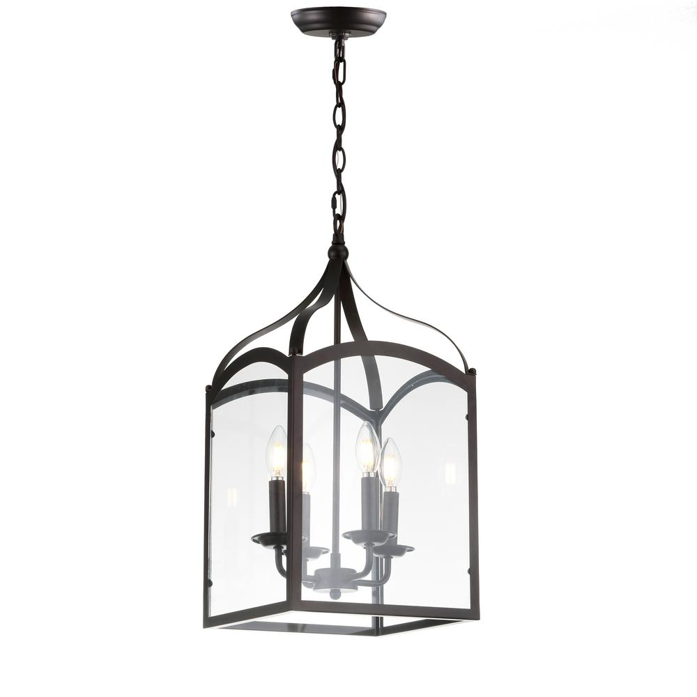 aba5e2e6e80 JONATHAN Y. Ruth 11 in. 4-Light Oil Rubbed Bronze Lantern Metal Glass LED  Pendant