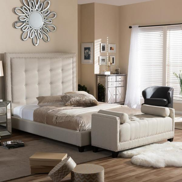 Hirst Transitional Beige Fabric Upholstered King Size Bed