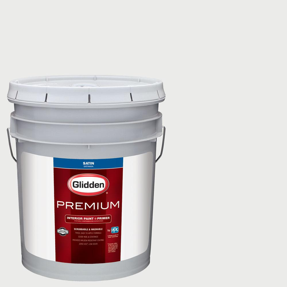 Glidden Premium 5 gal  #NHL-014H Los Angeles Kings White Satin Interior  Paint with Primer