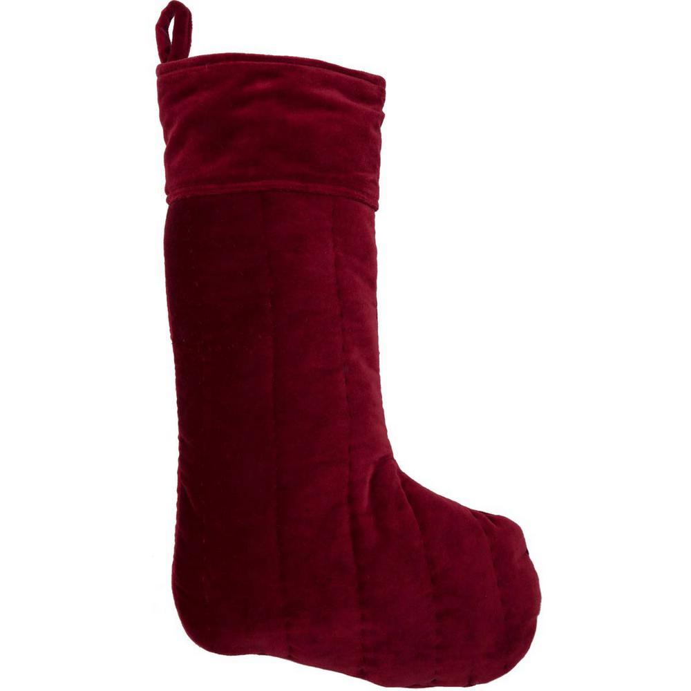Red Velvet Christmas Stockings.Vhc Brands 20 In Cotton Red Velvet Holiday Traditional Christmas Decor Stocking 38625 The Home Depot