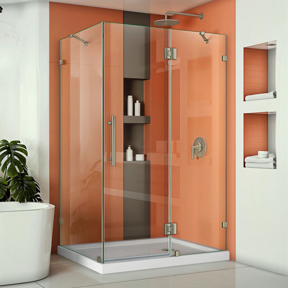 Quatra Lux 46-5/16 in. x 34-5/16 in. x 72 in. Frameless Corner Hinged Shower Enclosure in Brushed Nickel