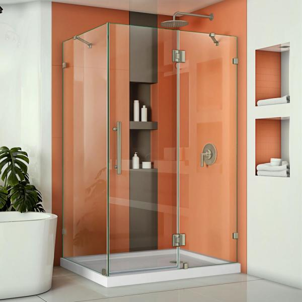 Quatra Lux 46-3/8 in. W x 34-1/4 in. D x 72 in. H Frameless Corner Hinged Shower Enclosure in Brushed Nickel