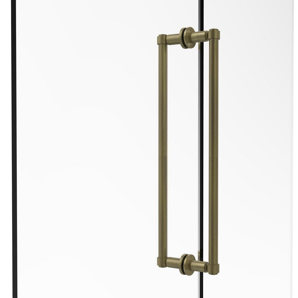 Contemporary 18 in. Back-to-Back Shower Door Pull in Antique Brass