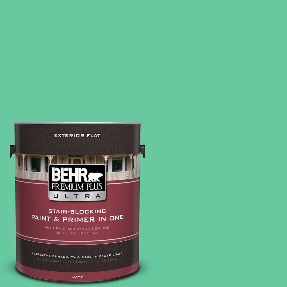 BEHR Premium Plus Ultra 1-gal. #470B-4 Intense Jade Flat Exterior Paint