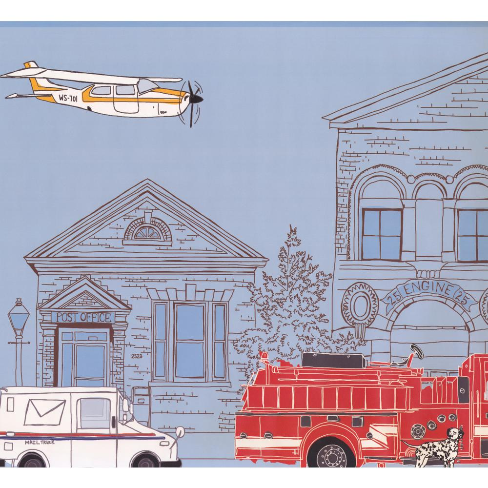 Industrial City Cartoon View Plane Post Office Fire Truck Extra Wide Prepasted Wallpaper Border