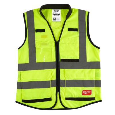 Premium 3X-Large /4X-Large Yellow Class 2-High Visibility Safety Vest with 15 Pockets
