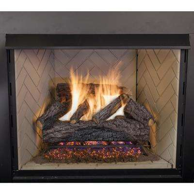 30 in. Charred River Oak Vented Natural Gas Fireplace Logs Set