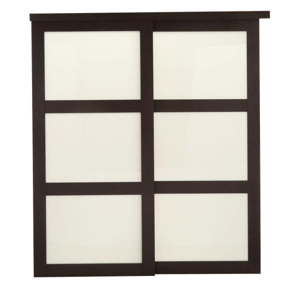 72 in. x 80-1/2 in. 2290 Series Espresso 3-Lite Tempered Frosted Glass Composite Interior Sliding Door