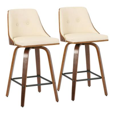 Gianna 26 in. Walnut and Cream Faux Leather Counter Stool (Set of 2)
