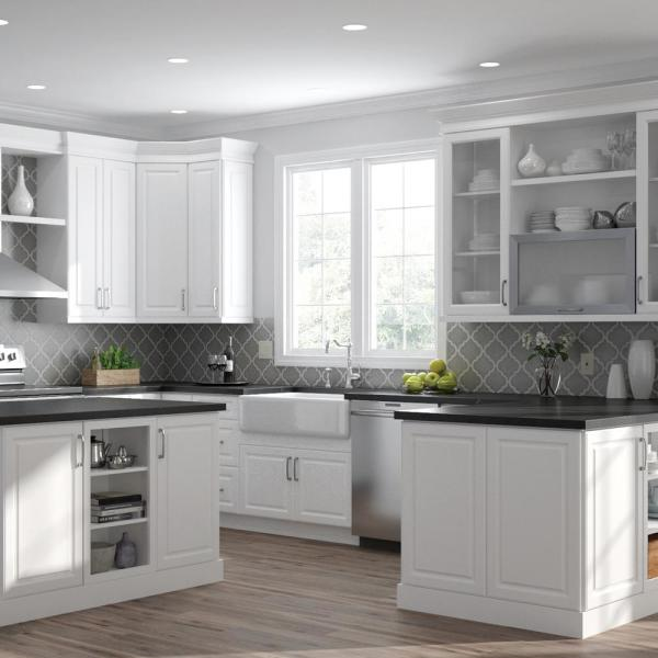 Hampton Bay Designer Series Elgin Assembled 30x24x12 In Wall Kitchen Cabinet In White W3024 Elwh The Home Depot
