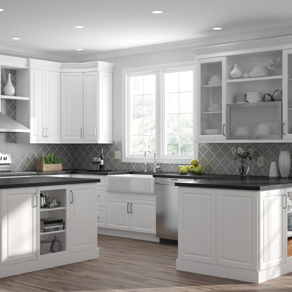 Hampton Bay Designer Series Elgin Assembled 36x30x12 in. Wall Kitchen  Cabinet with Glass Doors in White