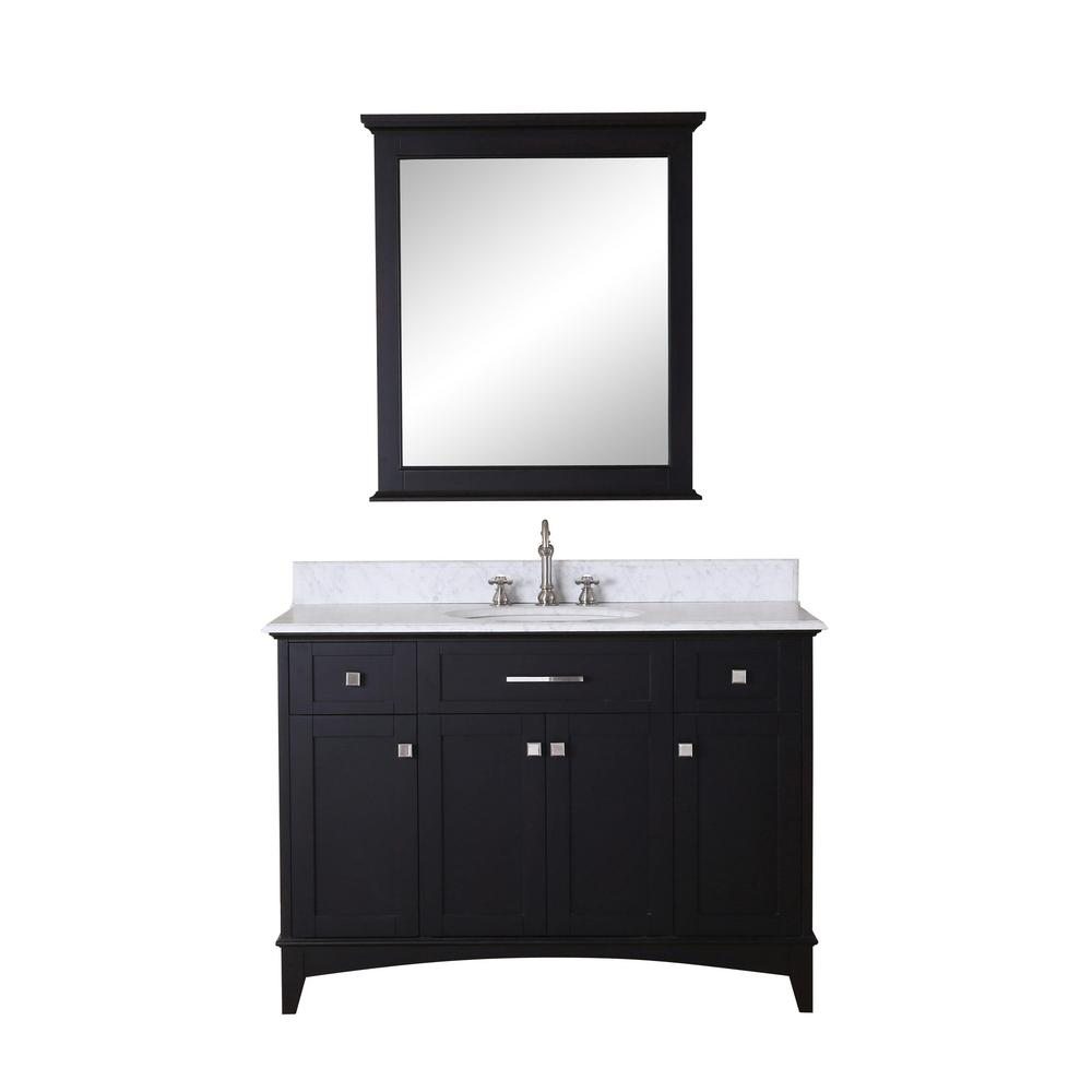 Water Vanity Dark Espresso Marble Vanity Top White Matching Mirror Image