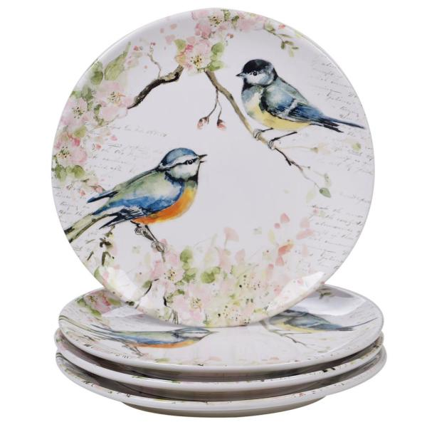 Spring Meadows 4-Piece Country/Cottage Multi-Colored Ceramic 10.75 in. Dinner Plate Set (Service for 4)