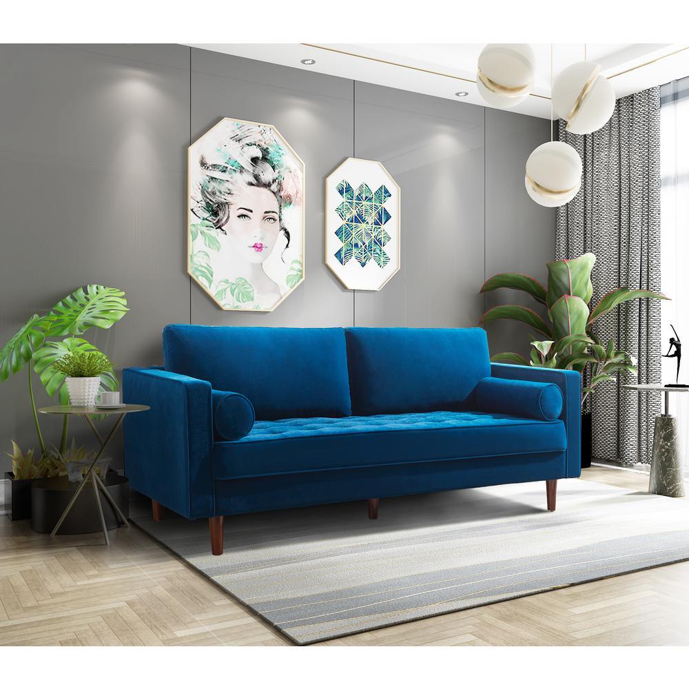 Dark Blue Modern Living Room Fabric Sofa Couch With Bolster Pillows Furniture Kolenik Living Room Furniture