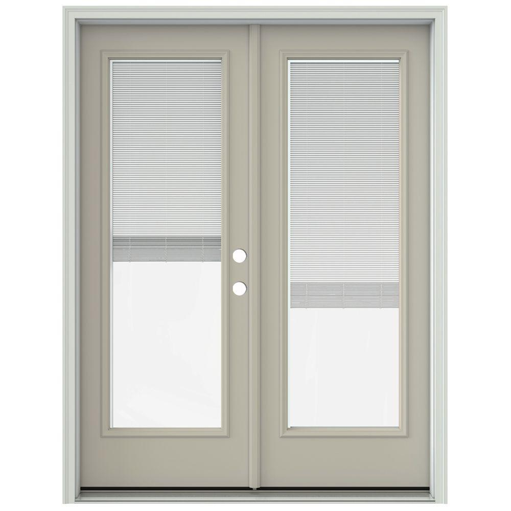 Jeld wen 60 in x 80 in desert sand painted steel left for Full glass patio door