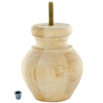 4 in. x 3-1/8 in. Unfinished Solid Hardwood Round Bun Foot