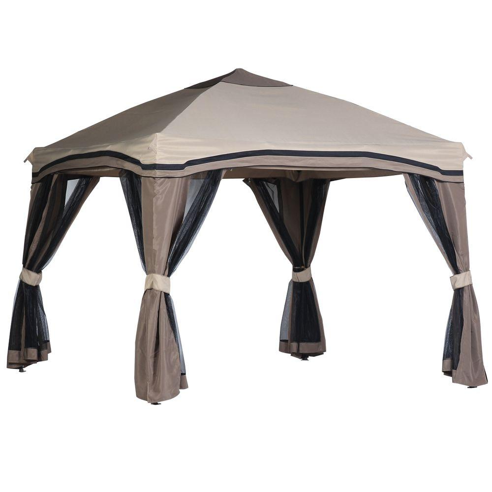 Hampton Bay Pitched 10 Ft X 10 Ft Roof Line Portable Gazebo With Netting 5lgz1027 1 The Home