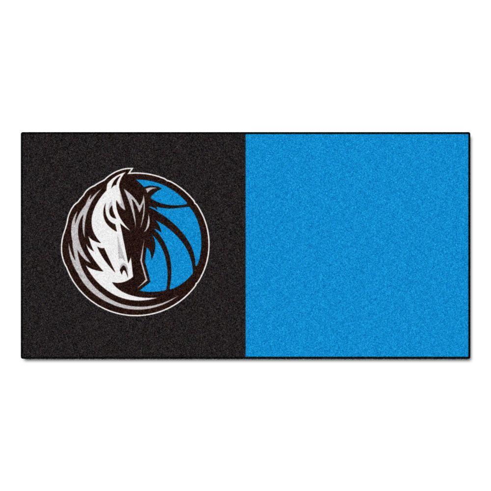 FANMATS NBA Dallas Mavericks Black and Blue Pattern 18 in. x 18 in. Carpet Tile (20 Tiles/Case)
