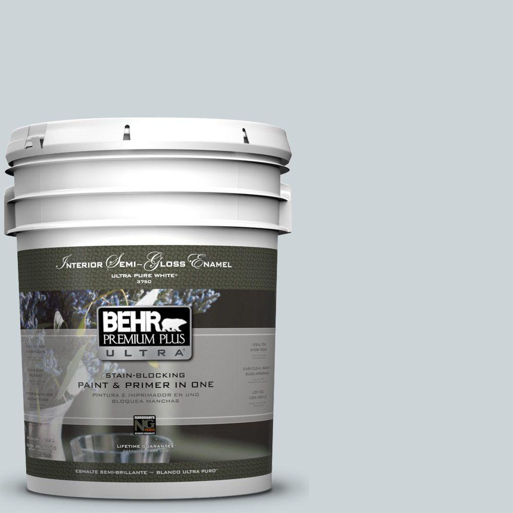 5-gal. #N470-1 Ash Blue Semi-Gloss Enamel Interior Paint