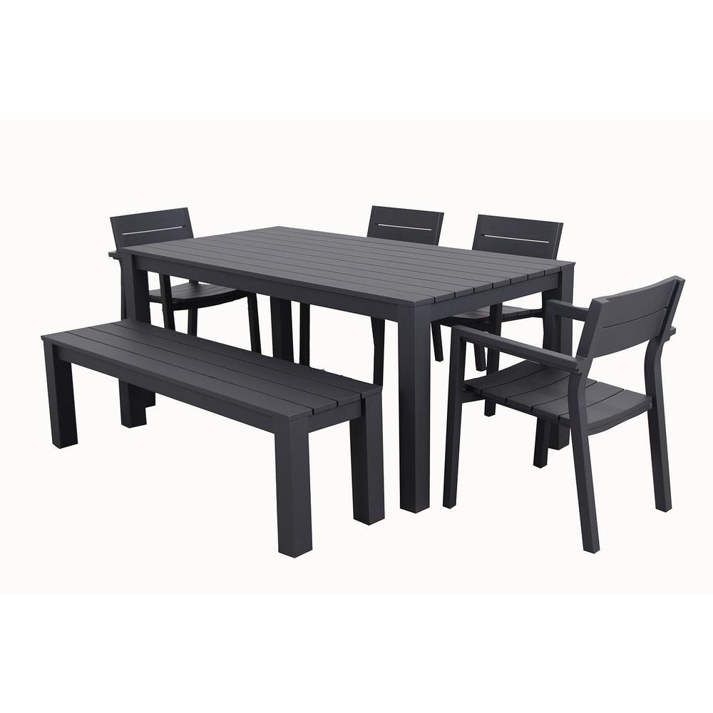 Patio Plus Cassara 6 Piece Aluminum Outdoor Dining Set Cas 7pc 18