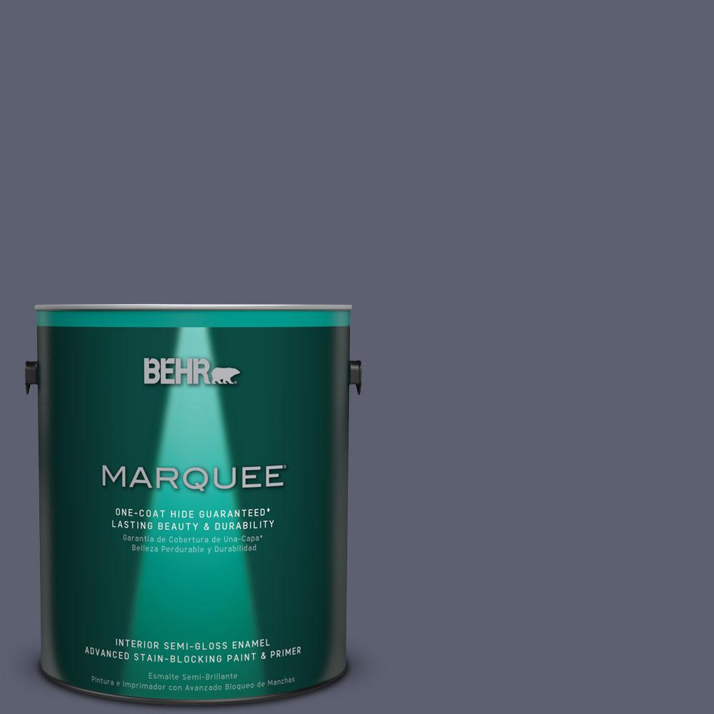 1 gal. #S550-6 Mysterious Night One-Coat Hide Semi-Gloss Enamel Interior Paint