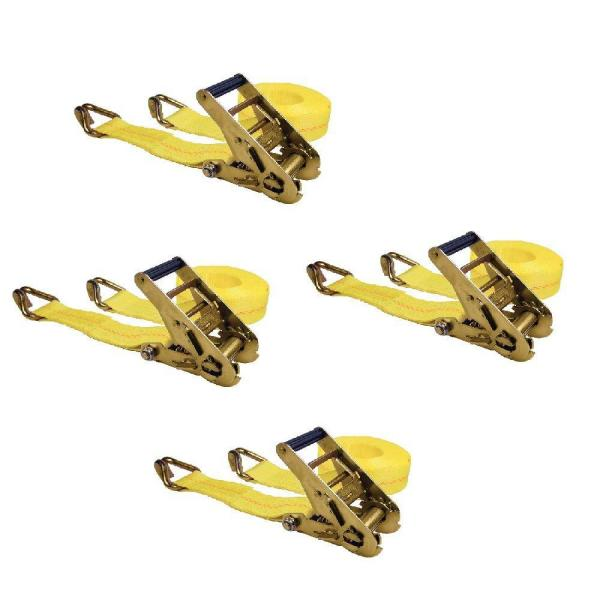25 ft. x 2 in. 3,333 WLL Ratchet Tie-Down with J Hooks (4-Pack)