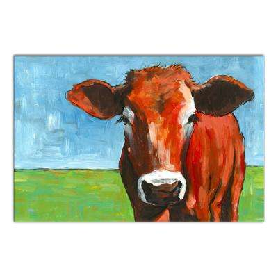 20 in. x 30 in. ''Big Brown Cow'' Printed Canvas Wall Art