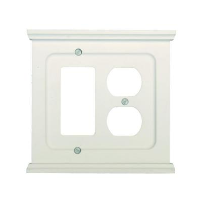 Mantel 2 Gang 1-Duplex and 1-Rocker Wood Wall Plate - White