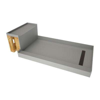48 in. x 72 in. Single Threshold Shower Base in Gray and Bench Kit with Right Drain and Oil Rubbed Bronze Trench Grate