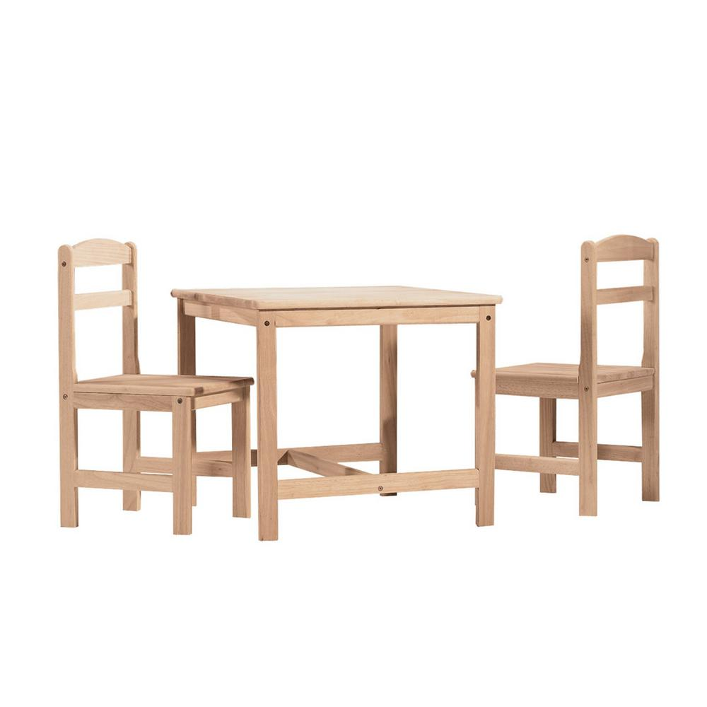 International Concepts 3 Piece Unfinished Childrenu0027s Table And Chair  Set 2027   The Home Depot