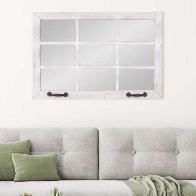 Windowpane Rectangular White Decorative Mirror