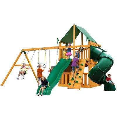 Mountaineer Clubhouse Wooden Swing Set with Green Vinyl Canopy and Tube Slide