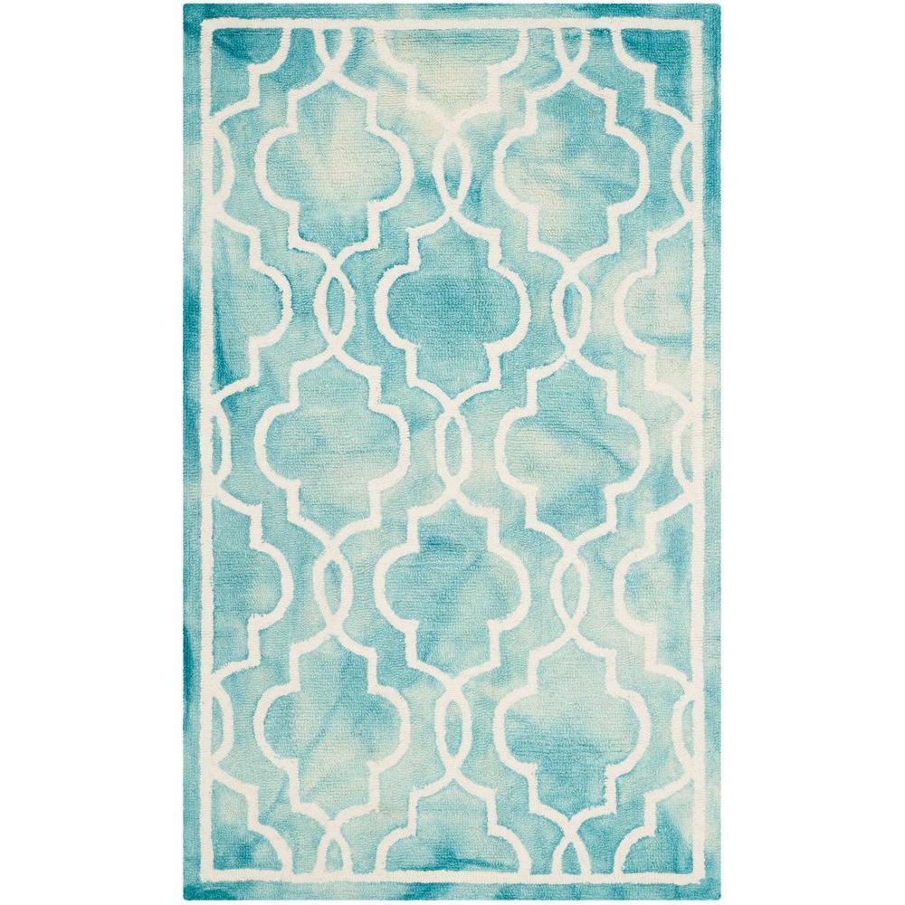 Safavieh Himalaya Turquoise Ivory 4 Ft X 6 Ft Area Rug: Safavieh Dip Dye Turquoise/Ivory 8 Ft. X 10 Ft. Area Rug