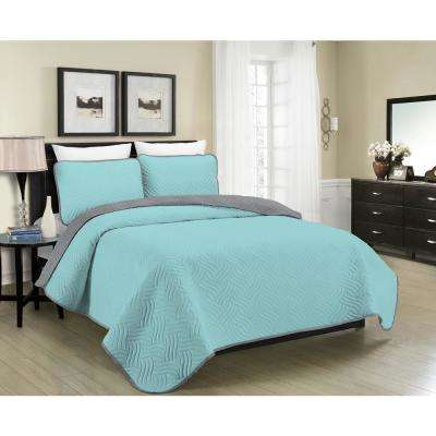 MHF Home Allison Reversible 3-Piece Aqua and Grey King Quilt Set
