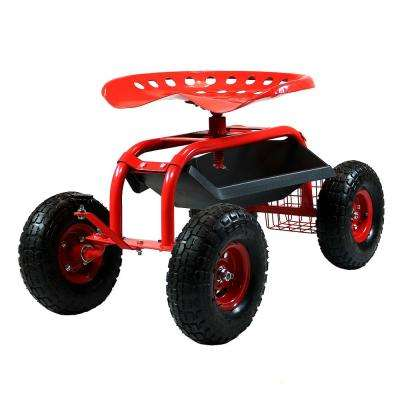 Red Steel Rolling Garden Cart with Steering Handle, Swivel Seat and Basket