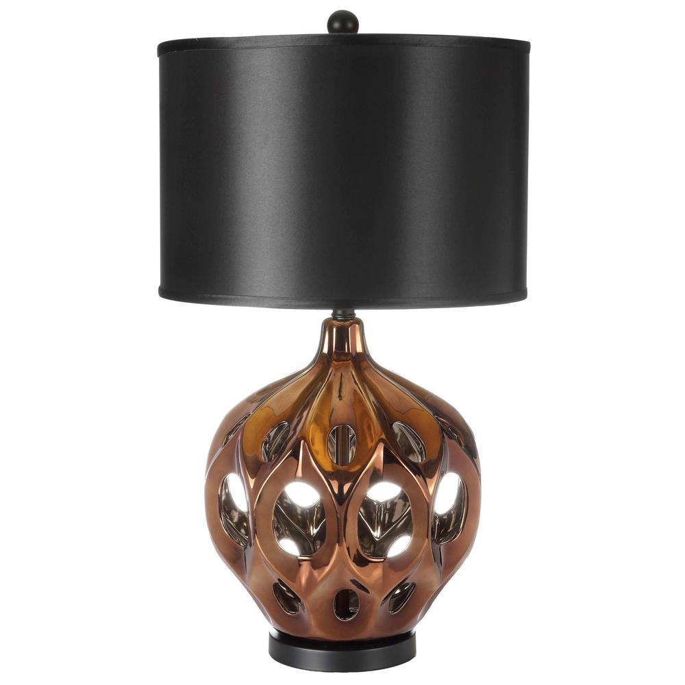 Gold/Brown Ceramic Paris Lamp With Black Shade