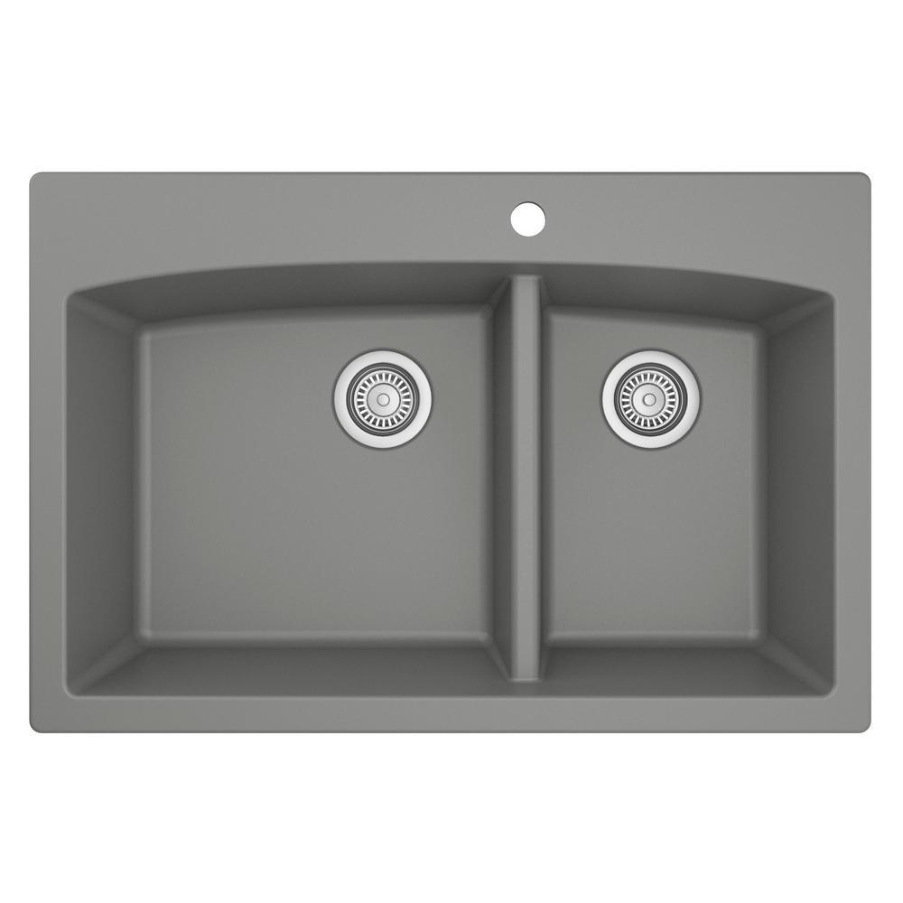 Karran Drop-In Quartz Composite 33 in. 1-Hole 60/40 Double Bowl Kitchen Sink in Grey