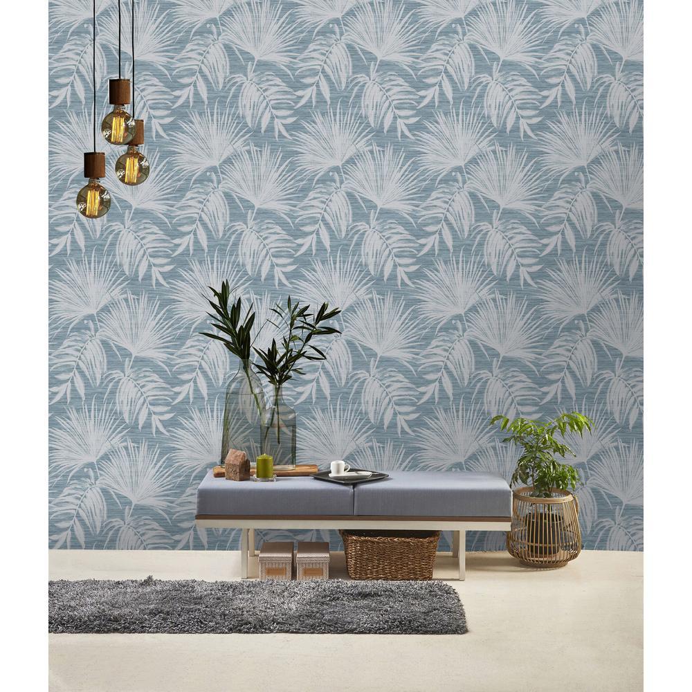 Teal Overgrown Botanicals Wallpaper