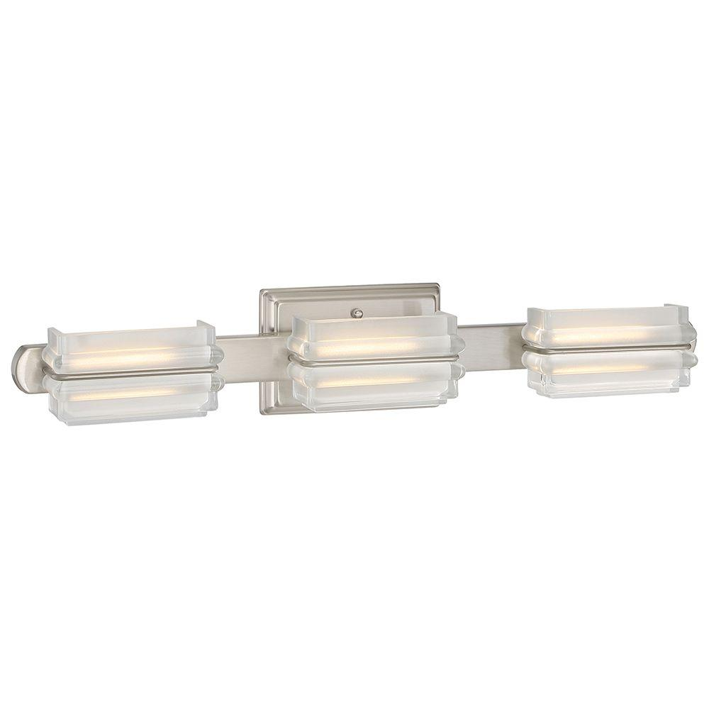 Good Lumens By Madison Avenue 3 Light Brushed Nickel LED Bath Vanity Light